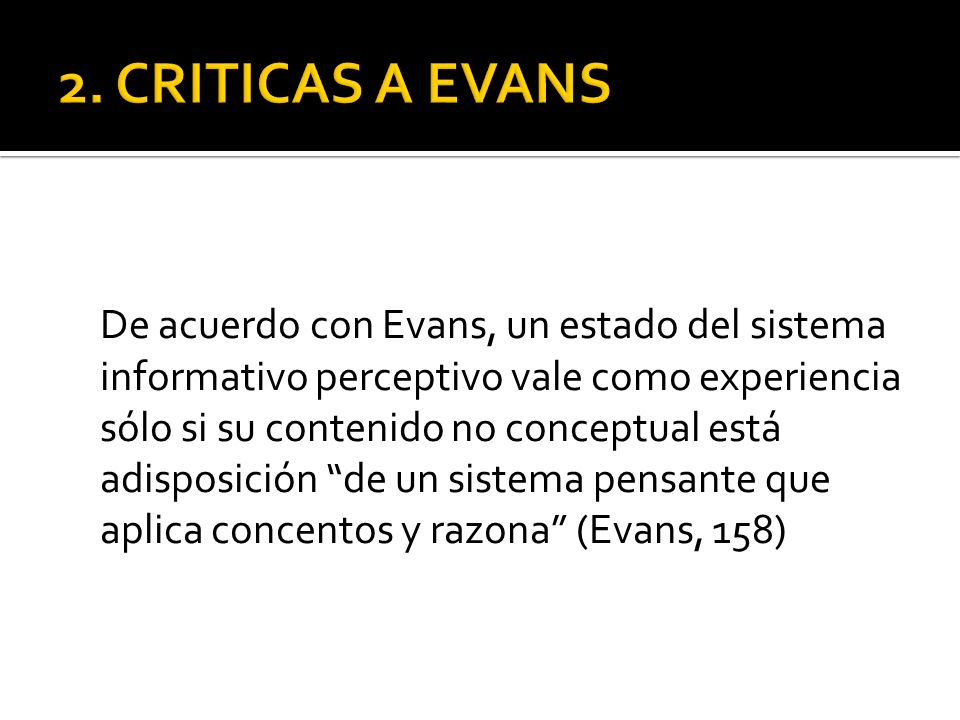 2. CRITICAS A EVANS