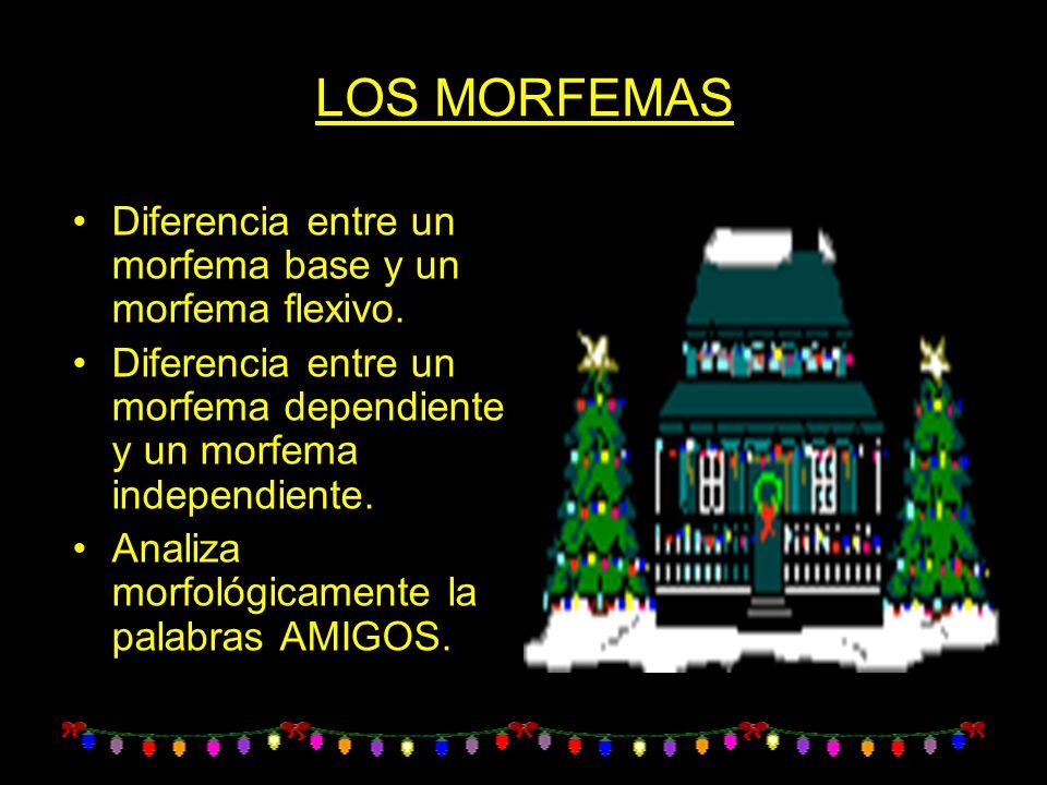 LOS MORFEMAS Diferencia entre un morfema base y un morfema flexivo.