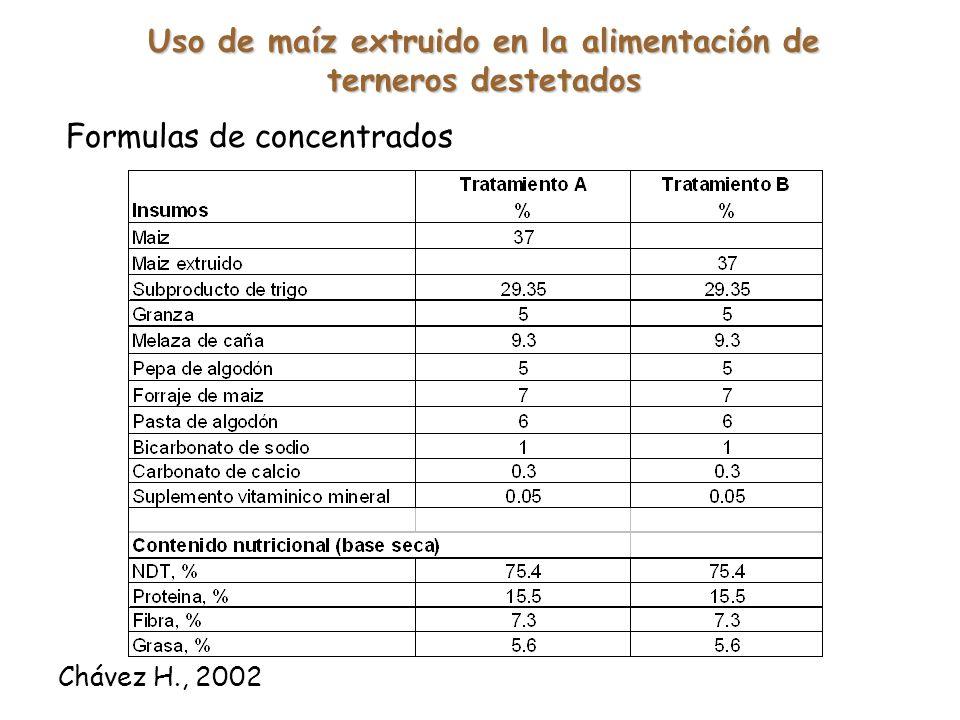 Uso de maíz extruido en la alimentación de terneros destetados