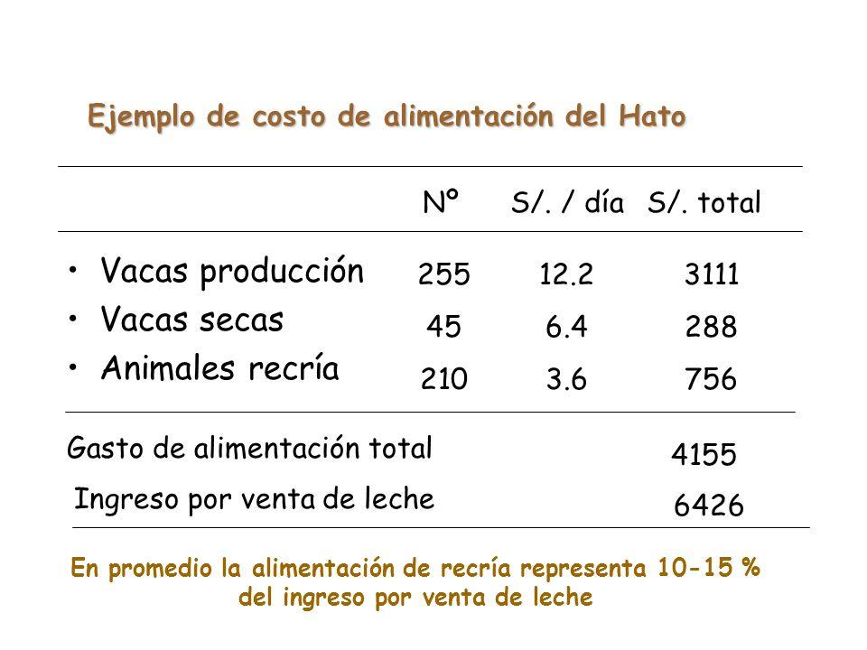 Ejemplo de costo de alimentación del Hato
