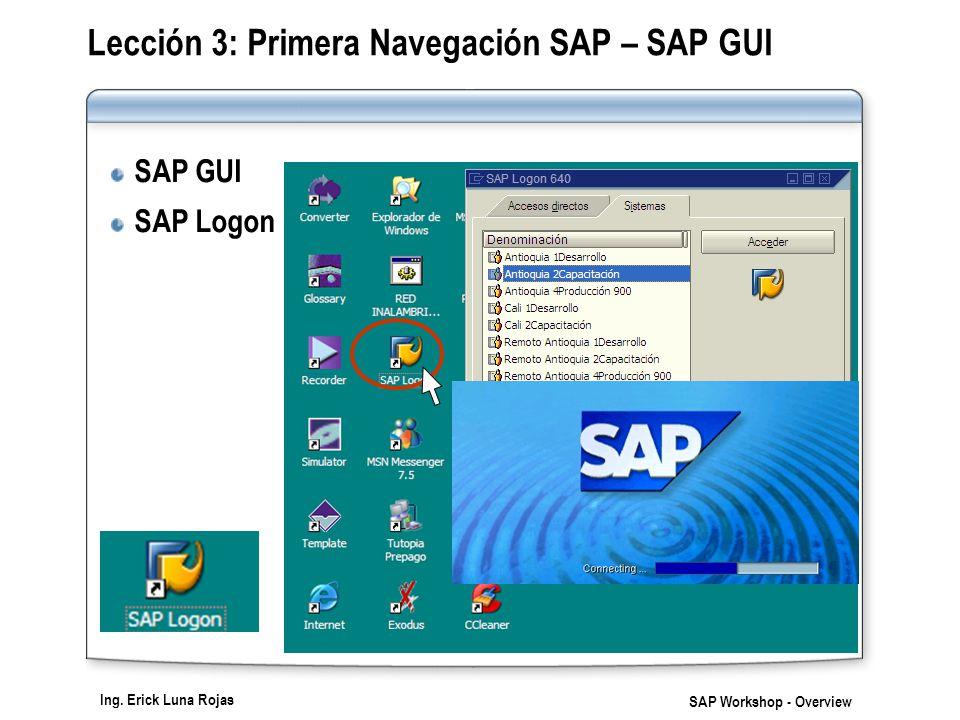Lección 3: Primera Navegación SAP – SAP GUI