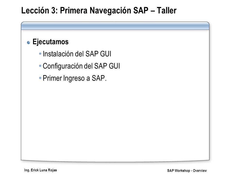 Lección 3: Primera Navegación SAP – Taller