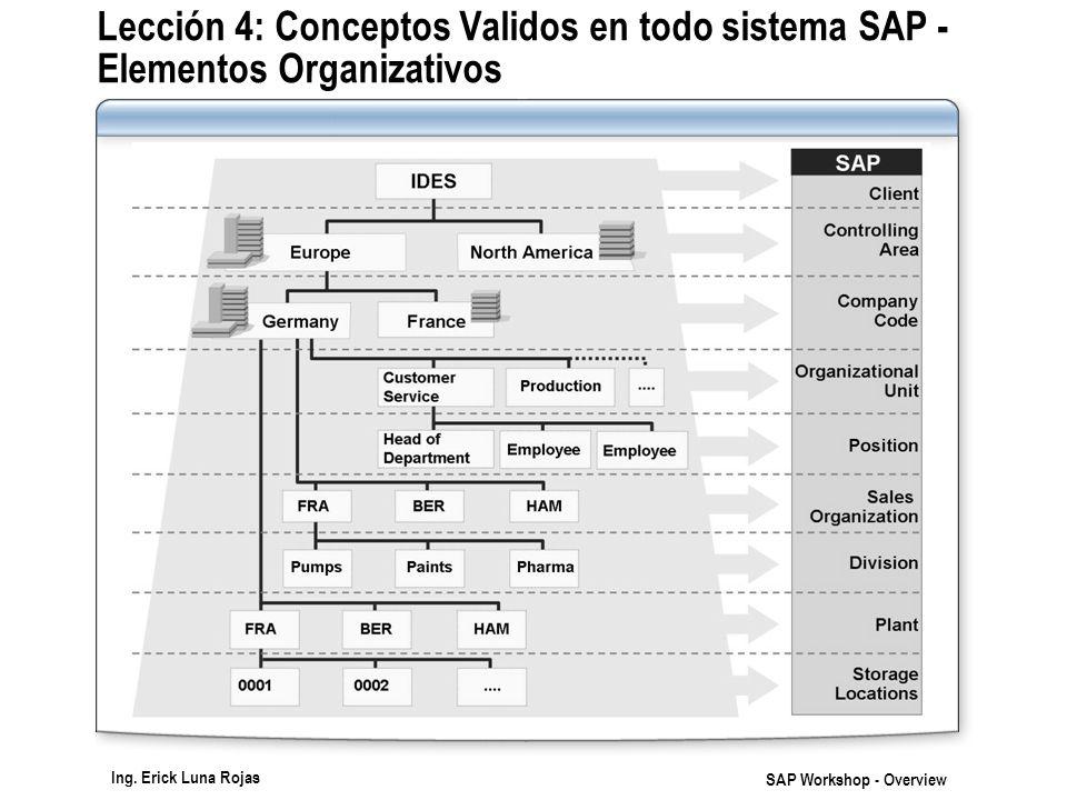 Lección 4: Conceptos Validos en todo sistema SAP - Elementos Organizativos