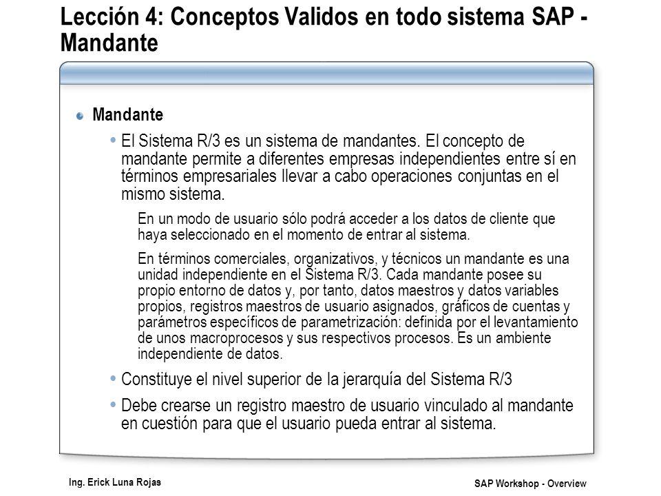Lección 4: Conceptos Validos en todo sistema SAP - Mandante