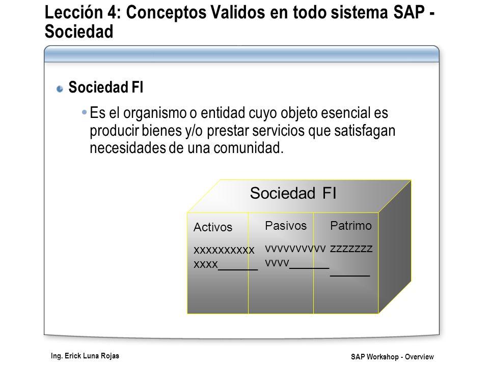 Lección 4: Conceptos Validos en todo sistema SAP - Sociedad