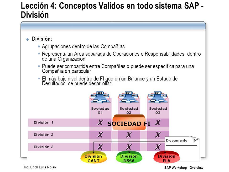 Lección 4: Conceptos Validos en todo sistema SAP - División