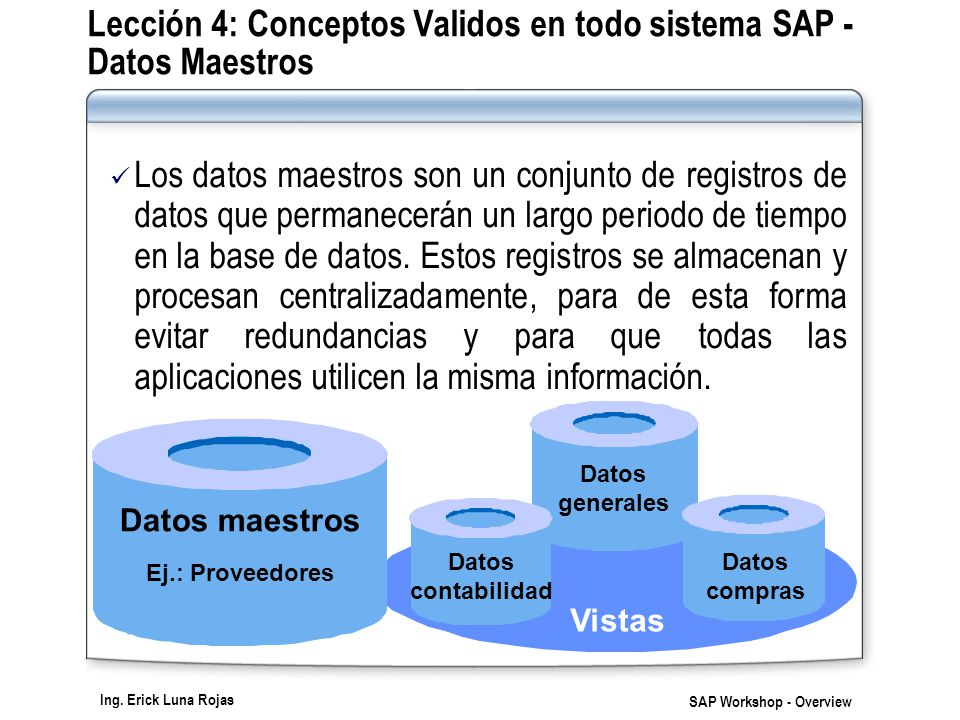 Lección 4: Conceptos Validos en todo sistema SAP - Datos Maestros
