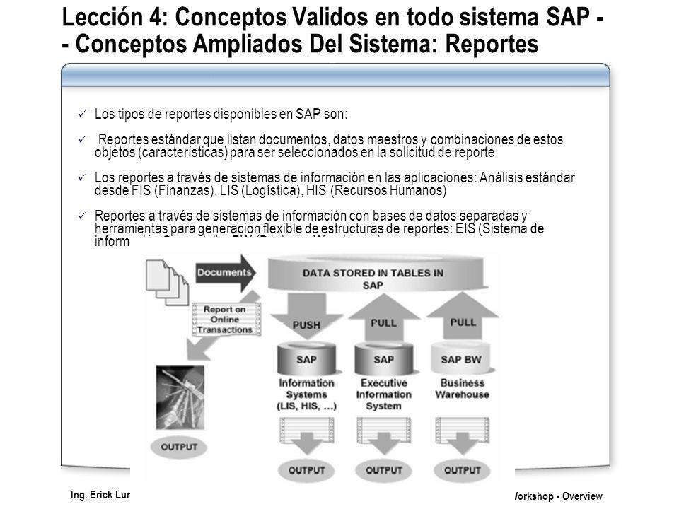 Lección 4: Conceptos Validos en todo sistema SAP - - Conceptos Ampliados Del Sistema: Reportes