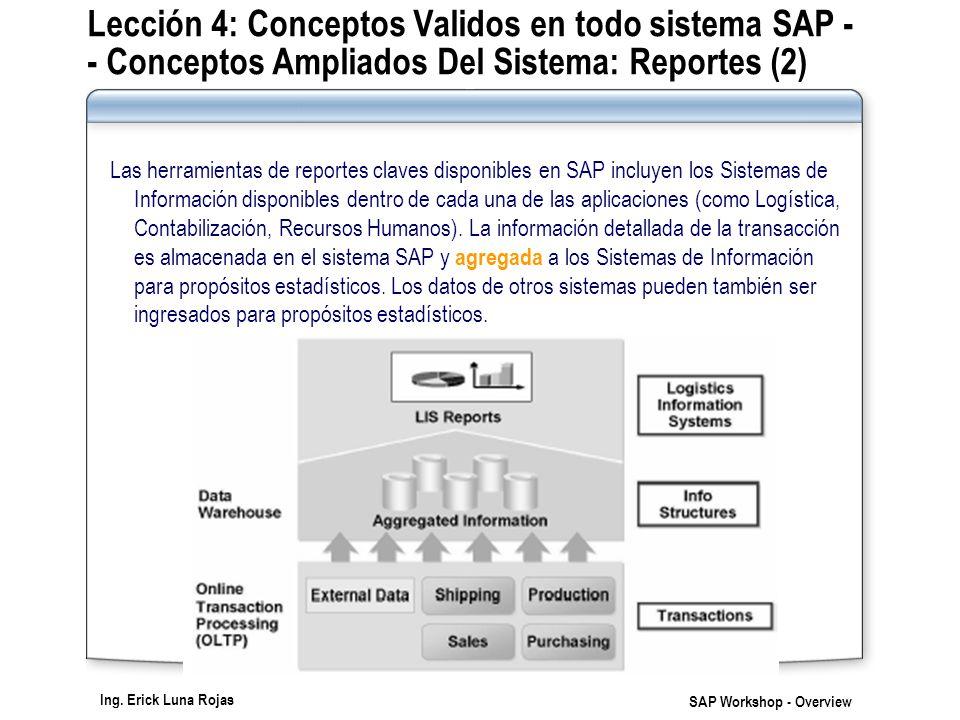 Lección 4: Conceptos Validos en todo sistema SAP - - Conceptos Ampliados Del Sistema: Reportes (2)