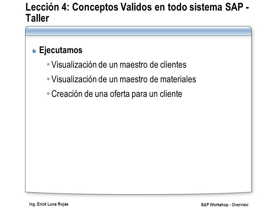 Lección 4: Conceptos Validos en todo sistema SAP - Taller