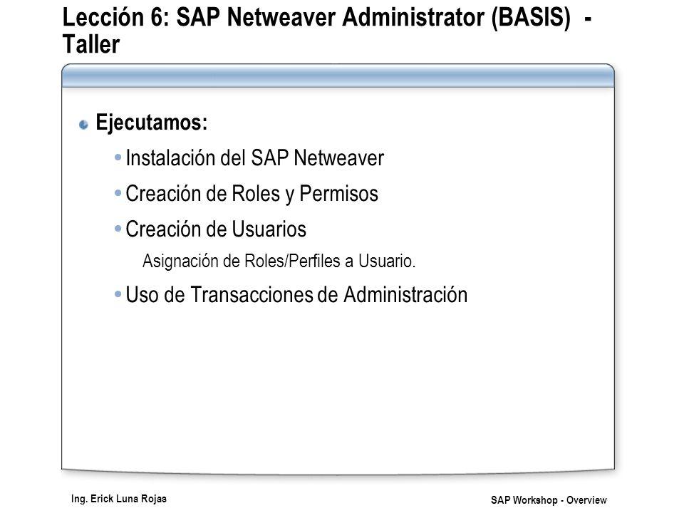 Lección 6: SAP Netweaver Administrator (BASIS) - Taller