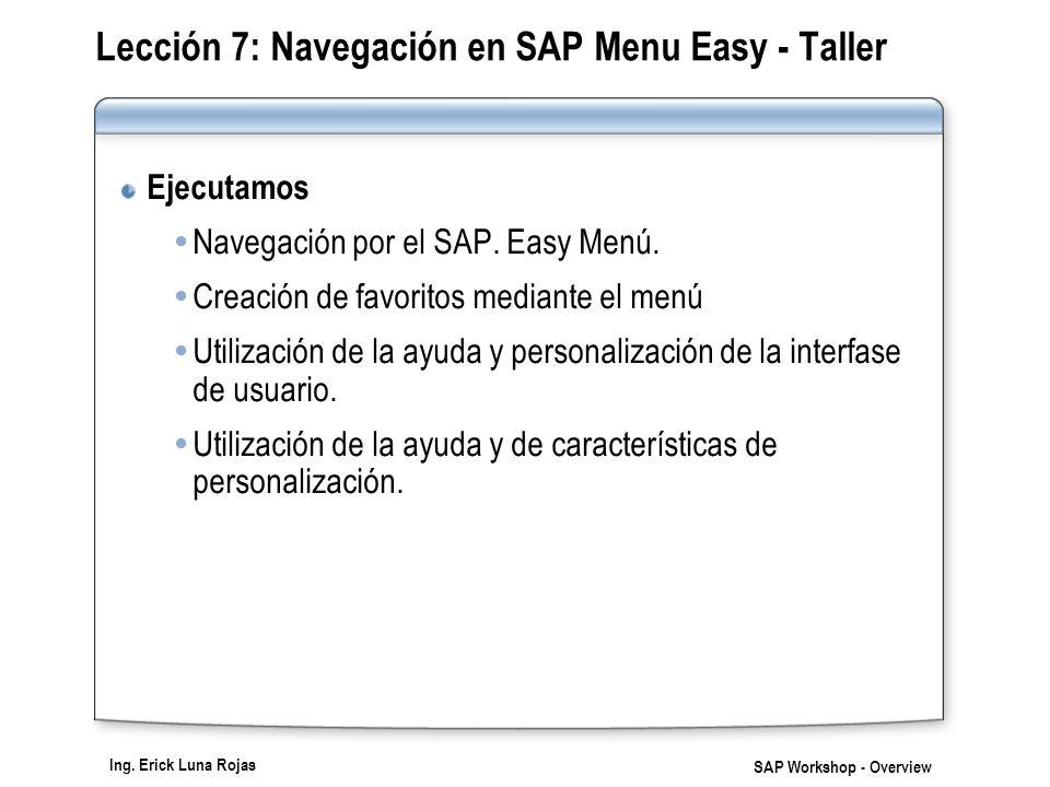 Lección 7: Navegación en SAP Menu Easy - Taller