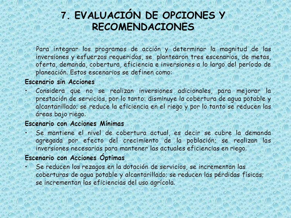 7. EVALUACIÓN DE OPCIONES Y RECOMENDACIONES