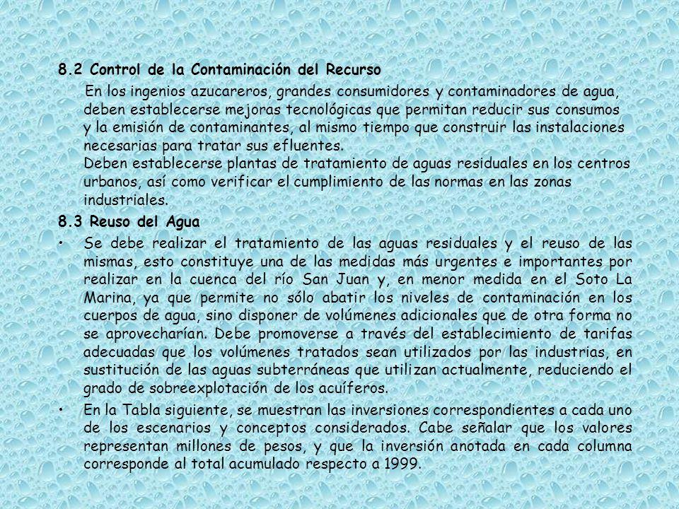 8.2 Control de la Contaminación del Recurso