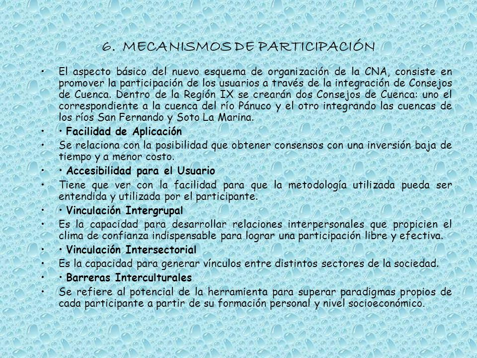 6. MECANISMOS DE PARTICIPACIÓN
