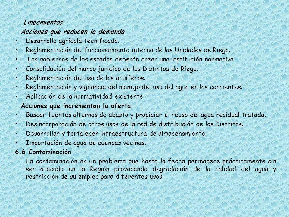 Lineamientos Acciones que reducen la demanda. Desarrollo agrícola tecnificado. Reglamentación del funcionamiento interno de las Unidades de Riego.