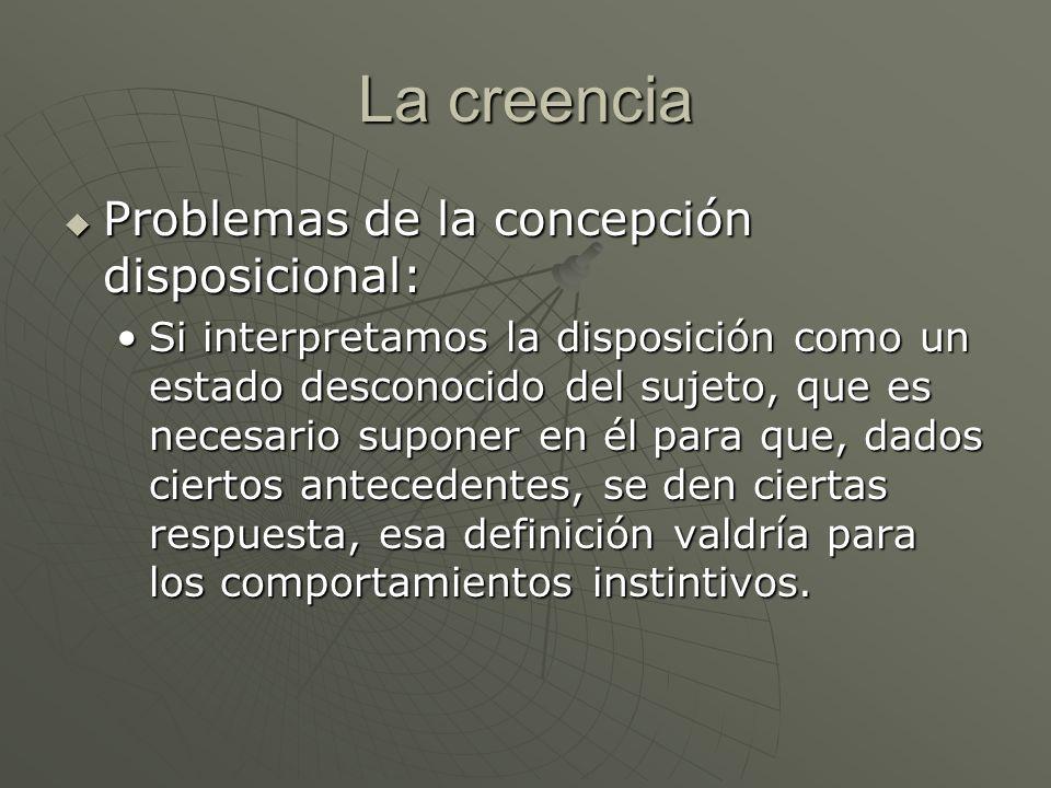 La creencia Problemas de la concepción disposicional: