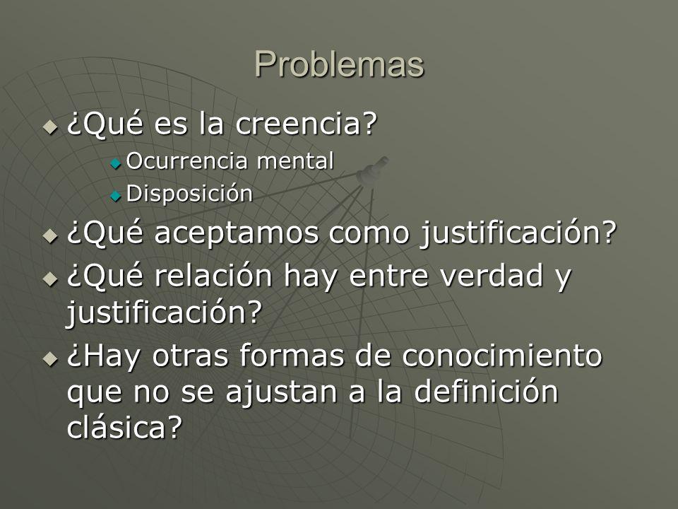 Problemas ¿Qué es la creencia ¿Qué aceptamos como justificación