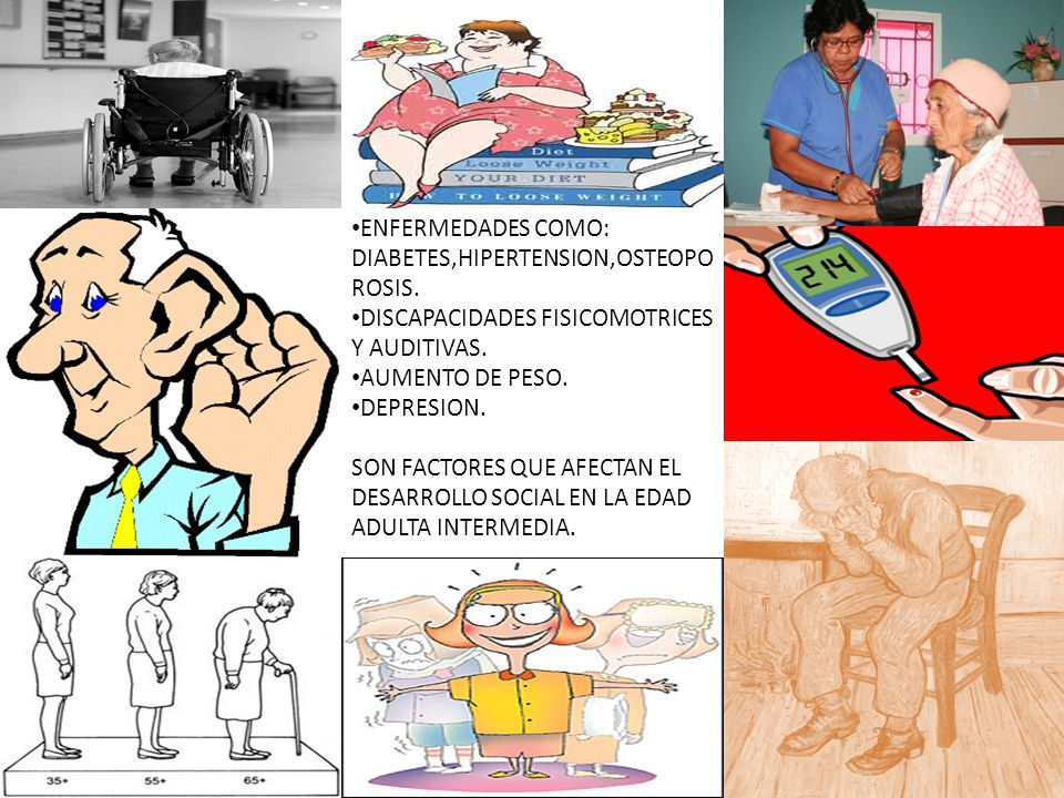 ENFERMEDADES COMO: DIABETES,HIPERTENSION,OSTEOPOROSIS.