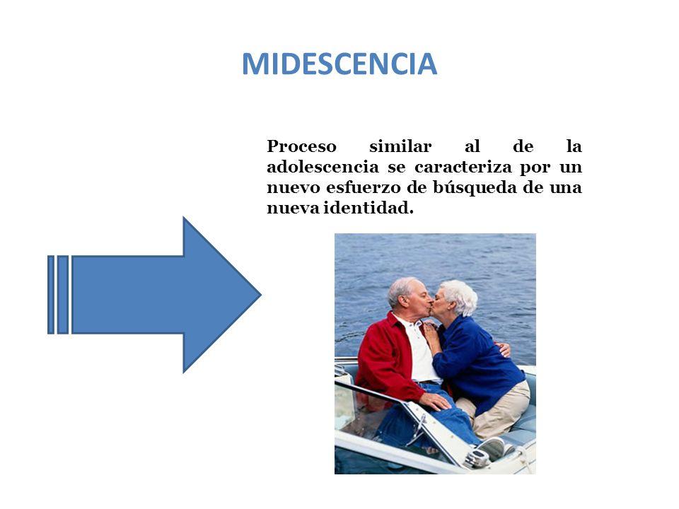 MIDESCENCIA Proceso similar al de la adolescencia se caracteriza por un nuevo esfuerzo de búsqueda de una nueva identidad.