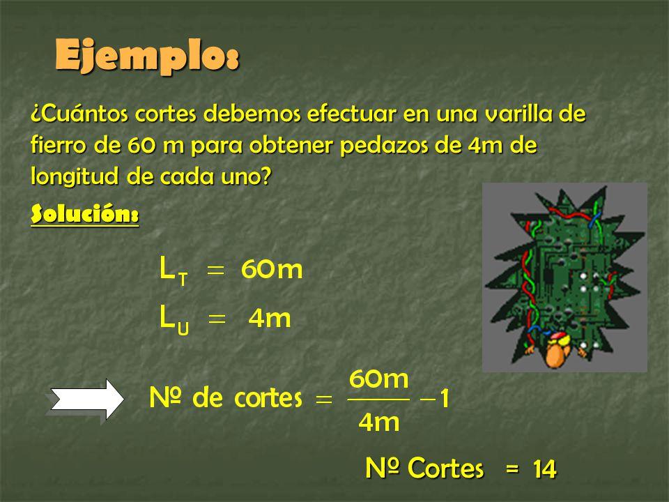 Ejemplo: ¿Cuántos cortes debemos efectuar en una varilla de fierro de 60 m para obtener pedazos de 4m de longitud de cada uno