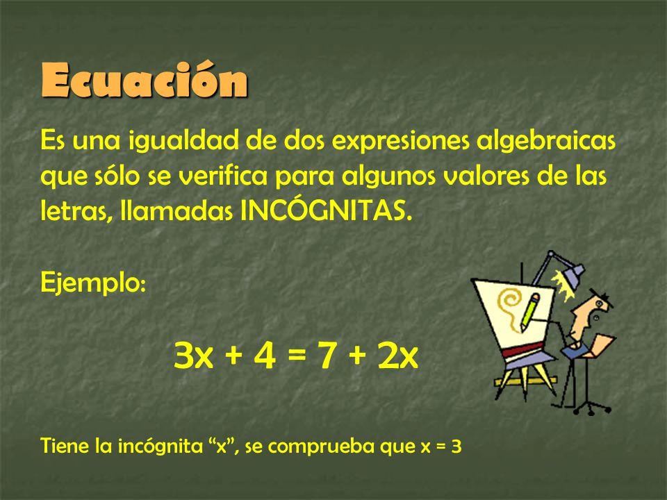 Ecuación Es una igualdad de dos expresiones algebraicas que sólo se verifica para algunos valores de las letras, llamadas INCÓGNITAS.