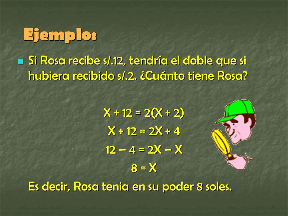 Ejemplo: Si Rosa recibe s/.12, tendría el doble que si hubiera recibido s/.2. ¿Cuánto tiene Rosa X + 12 = 2(X + 2)