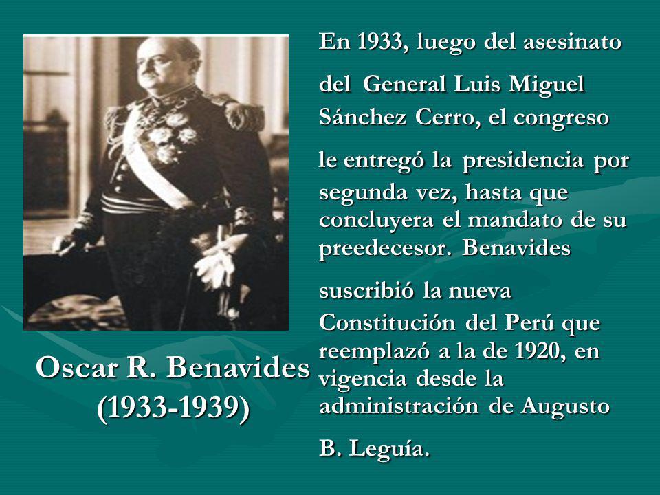 En 1933, luego del asesinato del General Luis Miguel Sánchez Cerro, el congreso le entregó la presidencia por segunda vez, hasta que concluyera el mandato de su preedecesor. Benavides suscribió la nueva Constitución del Perú que reemplazó a la de 1920, en vigencia desde la administración de Augusto B. Leguía.
