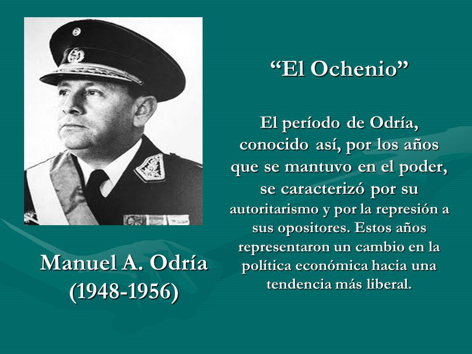 El Ochenio El período de Odría, conocido así, por los años que se mantuvo en el poder, se caracterizó por su autoritarismo y por la represión a sus opositores. Estos años representaron un cambio en la política económica hacia una tendencia más liberal.