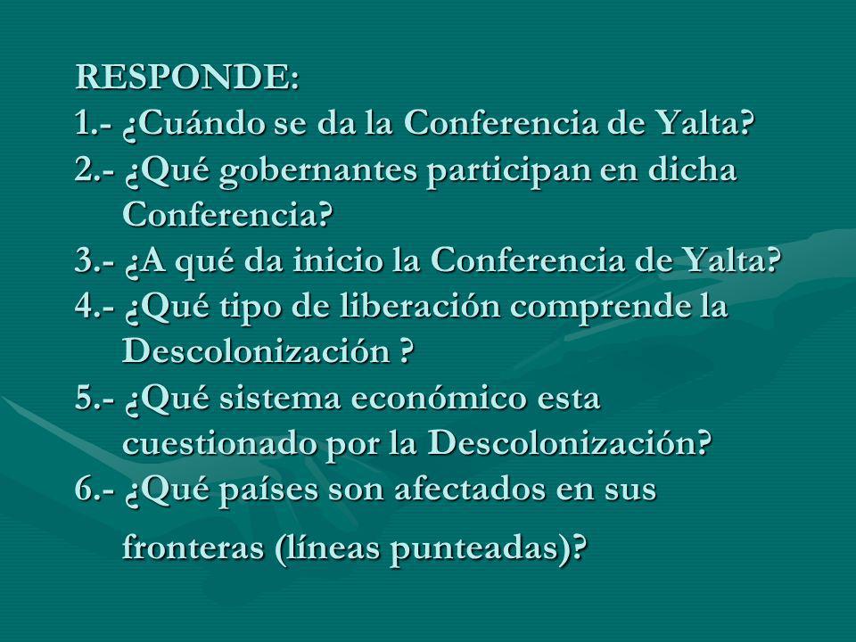 RESPONDE: 1. - ¿Cuándo se da la Conferencia de Yalta. 2