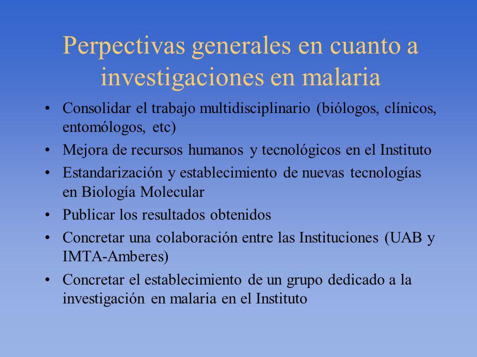 Perpectivas generales en cuanto a investigaciones en malaria