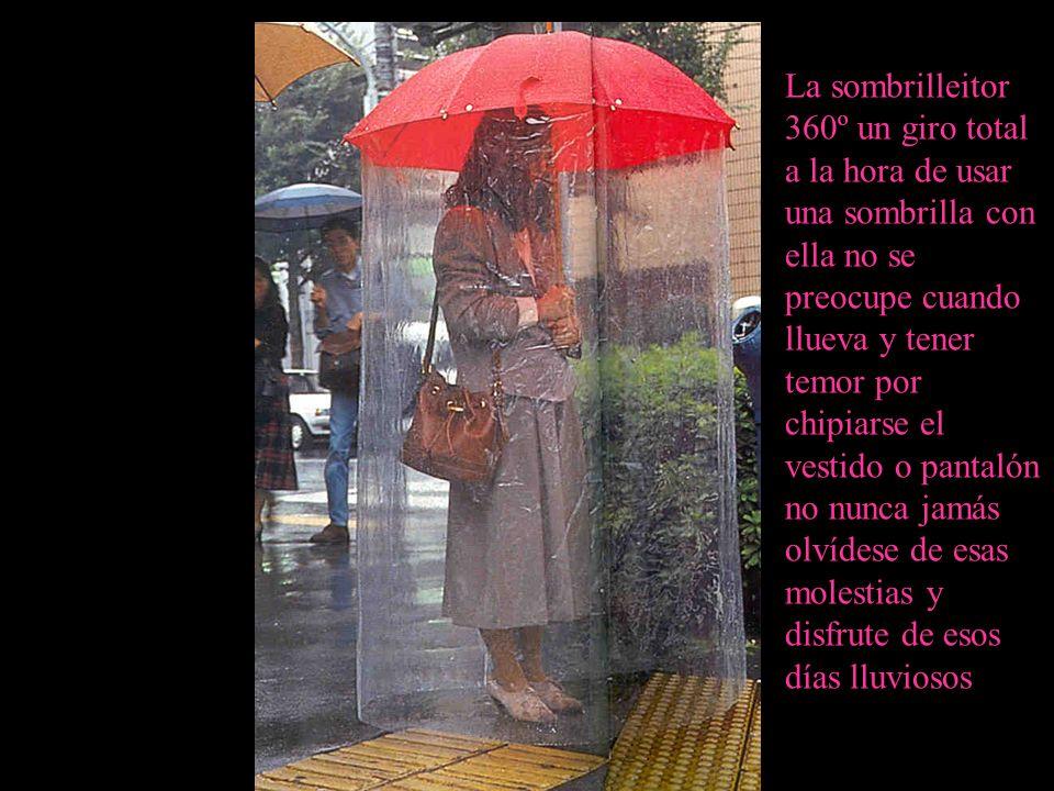 La sombrilleitor 360º un giro total a la hora de usar una sombrilla con ella no se preocupe cuando llueva y tener temor por chipiarse el vestido o pantalón no nunca jamás olvídese de esas molestias y disfrute de esos días lluviosos