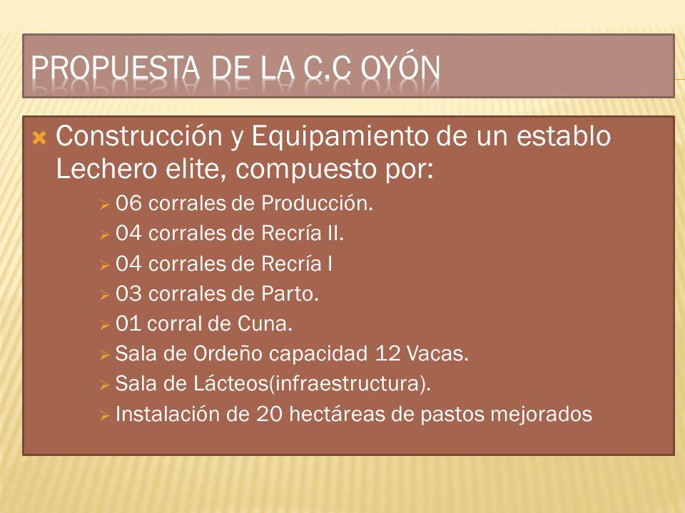 PROPUESTA DE LA C.C OYÓN Construcción y Equipamiento de un establo Lechero elite, compuesto por: 06 corrales de Producción.
