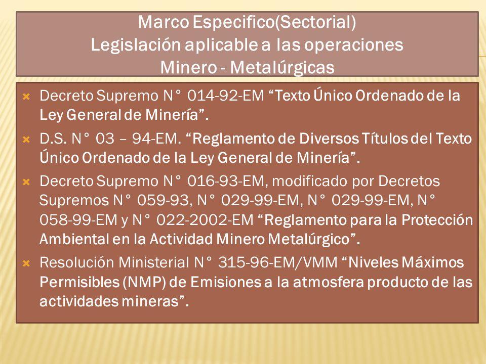 Marco Especifico(Sectorial) Legislación aplicable a las operaciones Minero - Metalúrgicas