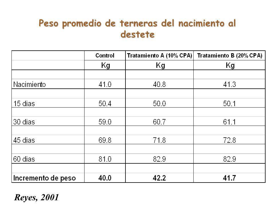 Peso promedio de terneras del nacimiento al destete