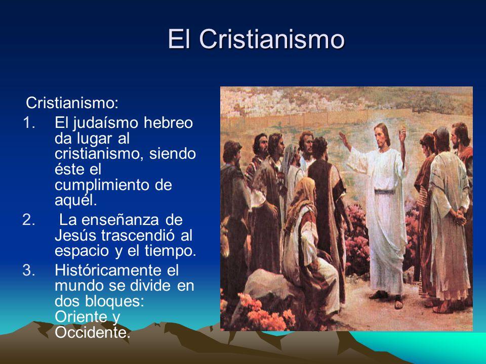 El Cristianismo Cristianismo: El judaísmo hebreo da lugar al cristianismo, siendo éste el cumplimiento de aquél.