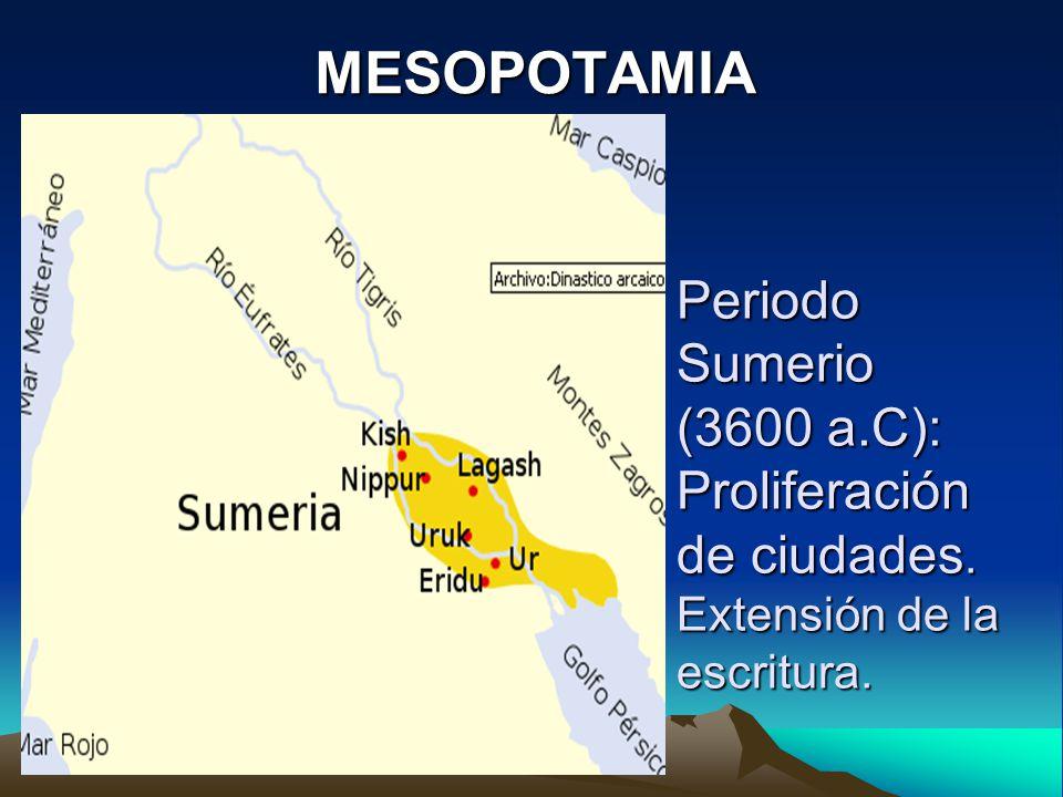 MESOPOTAMIA Periodo Sumerio (3600 a.C): Proliferación de ciudades. Extensión de la escritura.