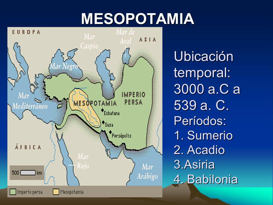 MESOPOTAMIA Ubicación temporal: 3000 a.C a 539 a. C.
