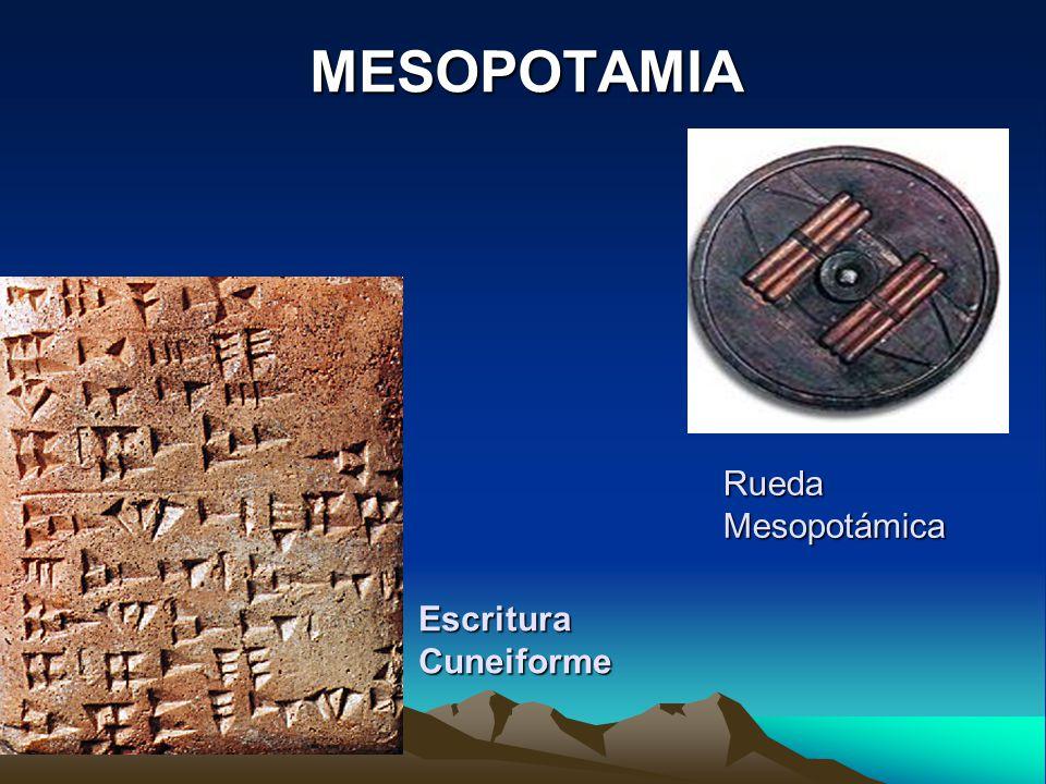 MESOPOTAMIA Rueda Mesopotámica Escritura Cuneiforme