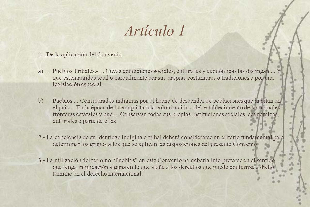 Artículo 1 1.- De la aplicación del Convenio