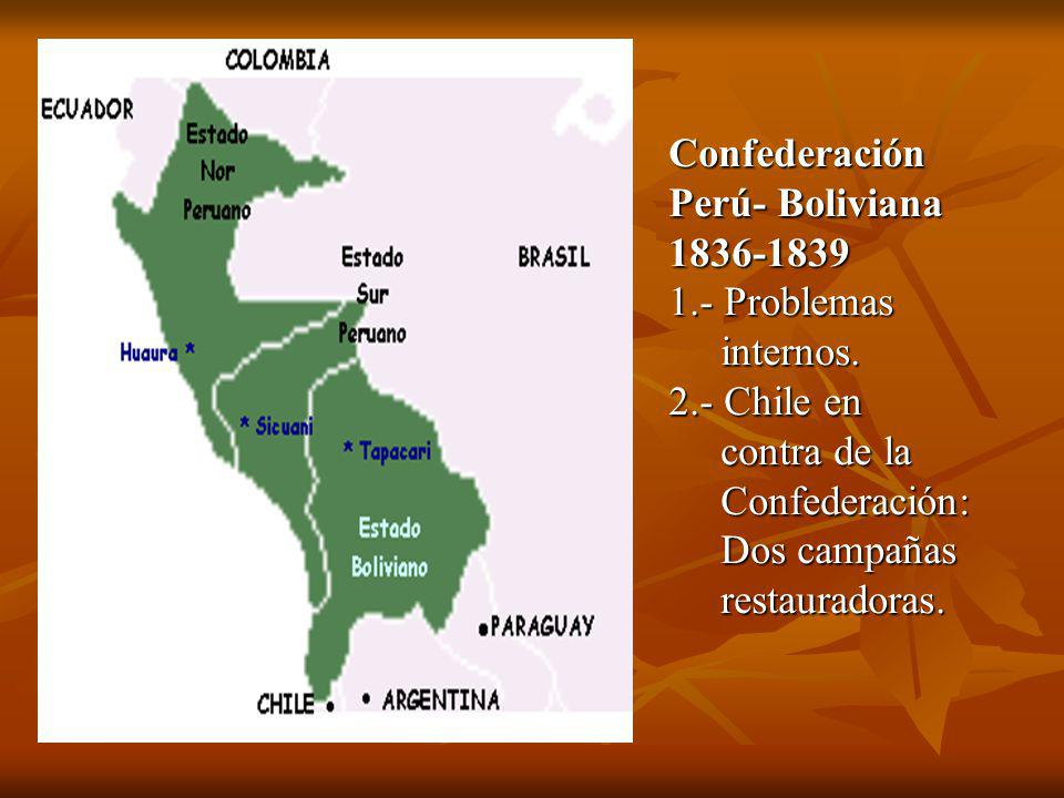 Confederación Perú- Boliviana. 1836-1839. 1.- Problemas. internos. 2.- Chile en. contra de la.