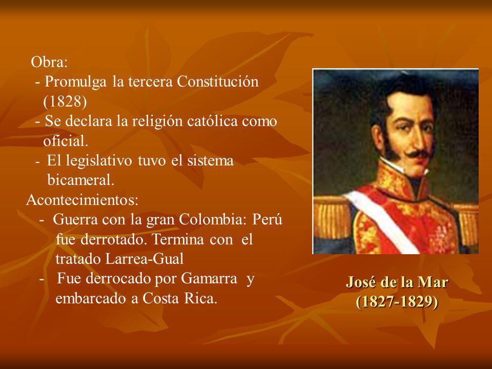 - Promulga la tercera Constitución (1828)