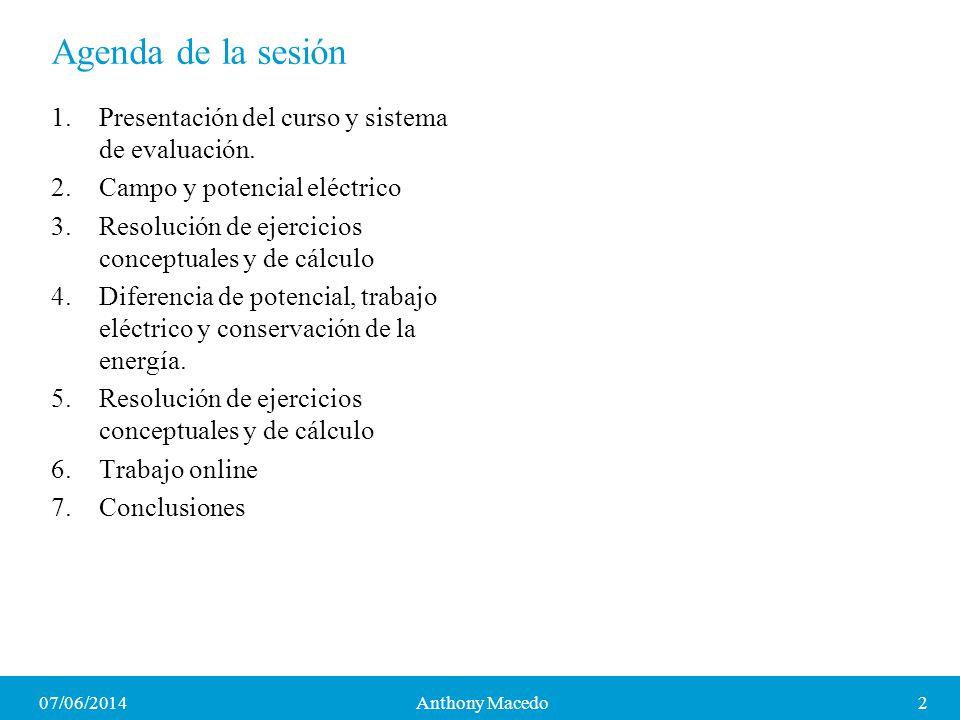 Agenda de la sesión Presentación del curso y sistema de evaluación.