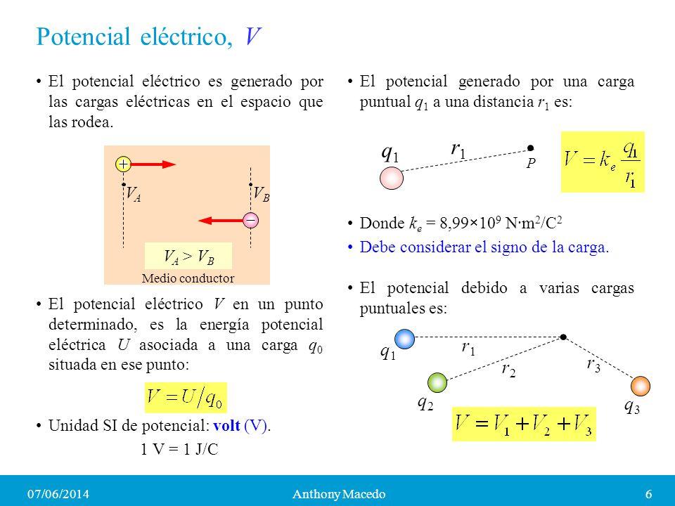 Potencial eléctrico, V r1 q1 r1 q1 r3 r2 q2 q3