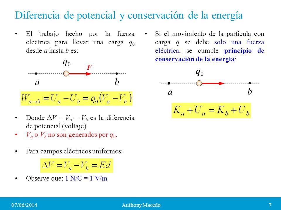 Diferencia de potencial y conservación de la energía