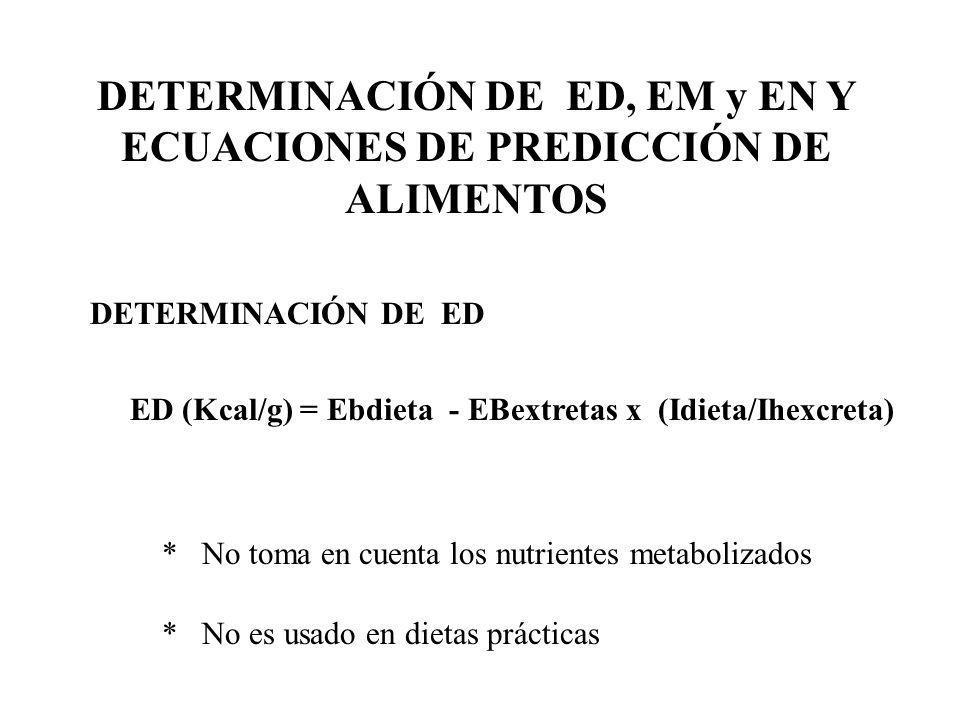 DETERMINACIÓN DE ED, EM y EN Y ECUACIONES DE PREDICCIÓN DE ALIMENTOS