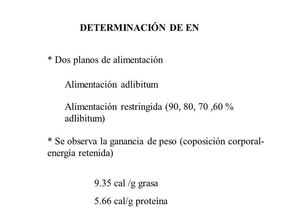 DETERMINACIÓN DE EN * Dos planos de alimentación. Alimentación adlibitum. Alimentación restringida (90, 80, 70 ,60 % adlibitum)