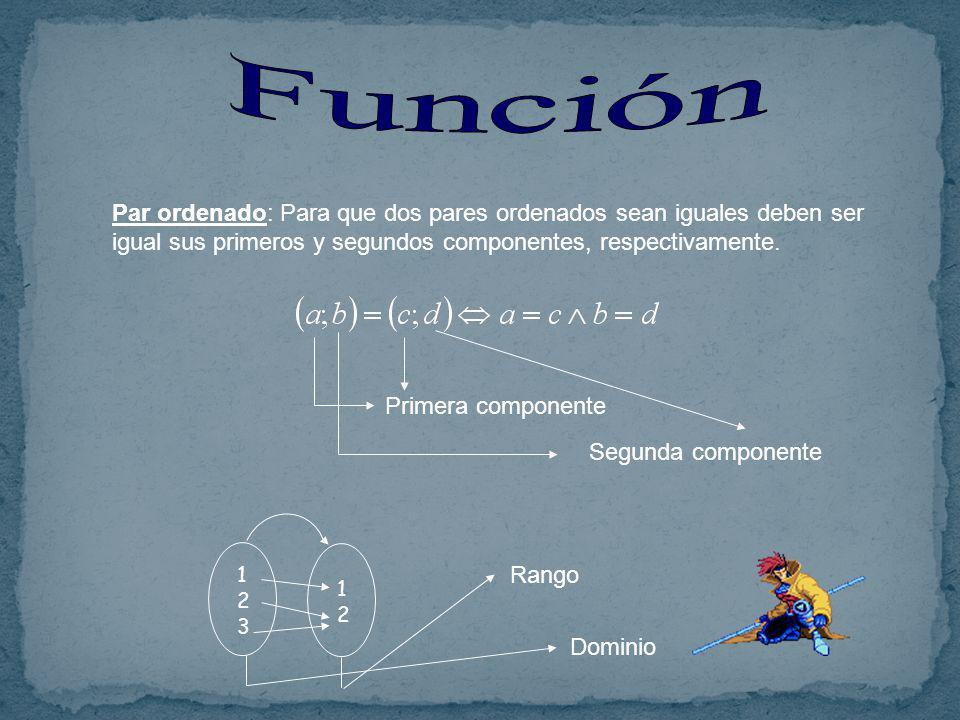 Función Par ordenado: Para que dos pares ordenados sean iguales deben ser igual sus primeros y segundos componentes, respectivamente.