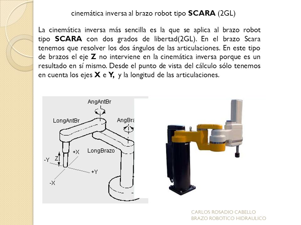 cinemática inversa al brazo robot tipo SCARA (2GL)