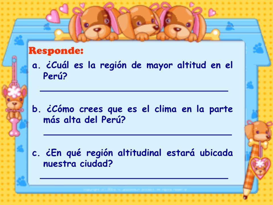 Responde: a. ¿Cuál es la región de mayor altitud en el Perú